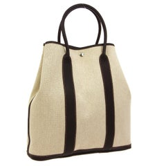 Hermes Tan Canvas Brown Leather Top Handle Carryall Travel Tote Bag