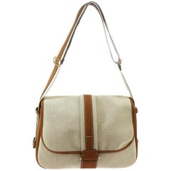 Hermes Tan Canvas Cognac Leather Gold Saddle Flap Carryall Shoulder Bag