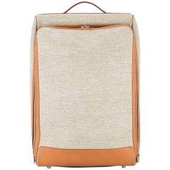 Hermes Tan Canvas Cognac Leather Men's Women's Travel Rollerbag Luggage Suitcase