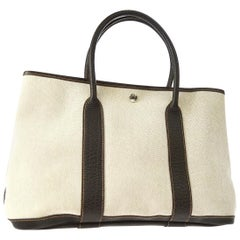 Hermes Tan Canvas Dark Brown Leather Top Handle Travel Carryall Tote Bag