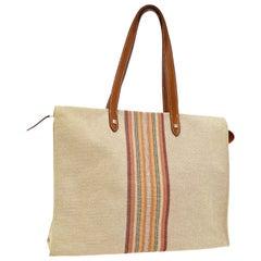 Hermes Tan Canvas Stripe Men's Women's Top Handle Shoulder Carryall Tote Bag