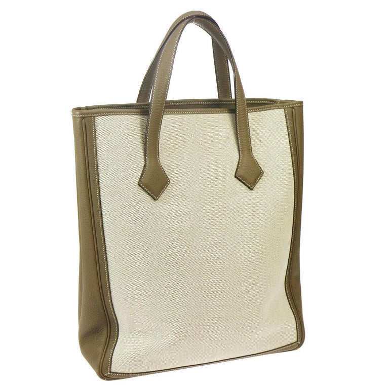Beige  Hermes Tan Canvas Taupe Leather Carryall Travel Men's Women's Tote Bag For Sale