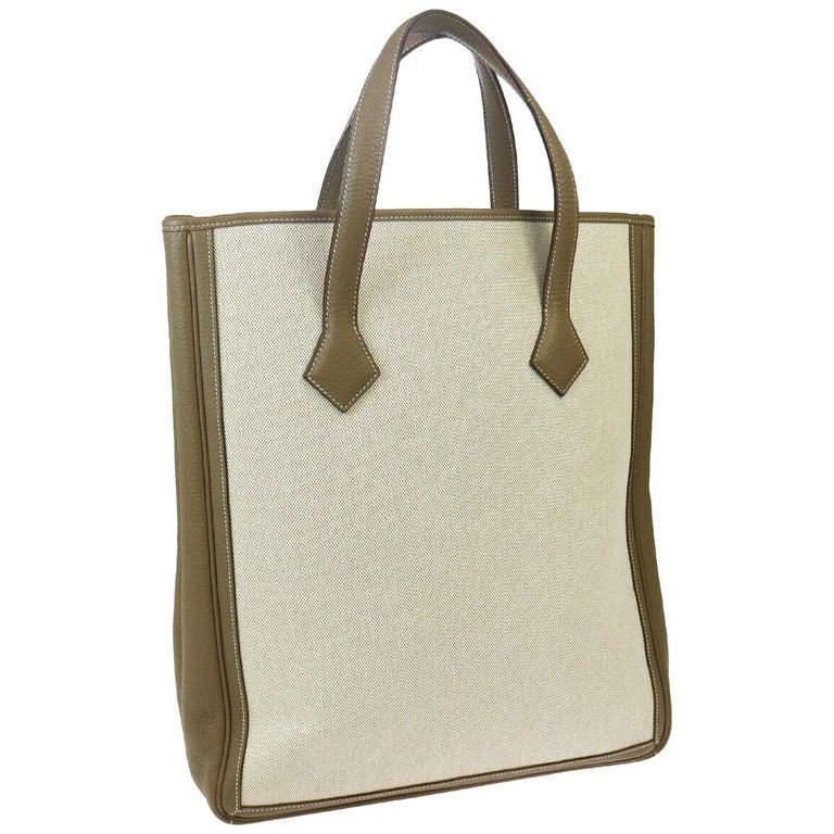Hermes Tan Canvas Taupe Leather Carryall Travel Men's Women's Tote Bag For Sale
