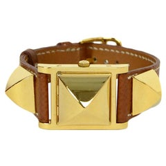 Hermes Tan/Gold 23mm Medor Watch PM w/ Extra Red Lizard Strap rt $4,500