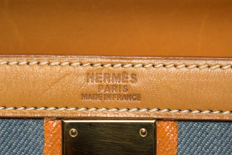 Hermes Tan Leather and Painted Denim Kelly 35cm For Sale 5