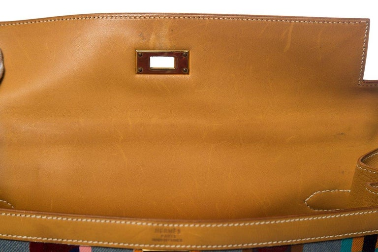 Hermes Tan Leather and Painted Denim Kelly 35cm For Sale 6