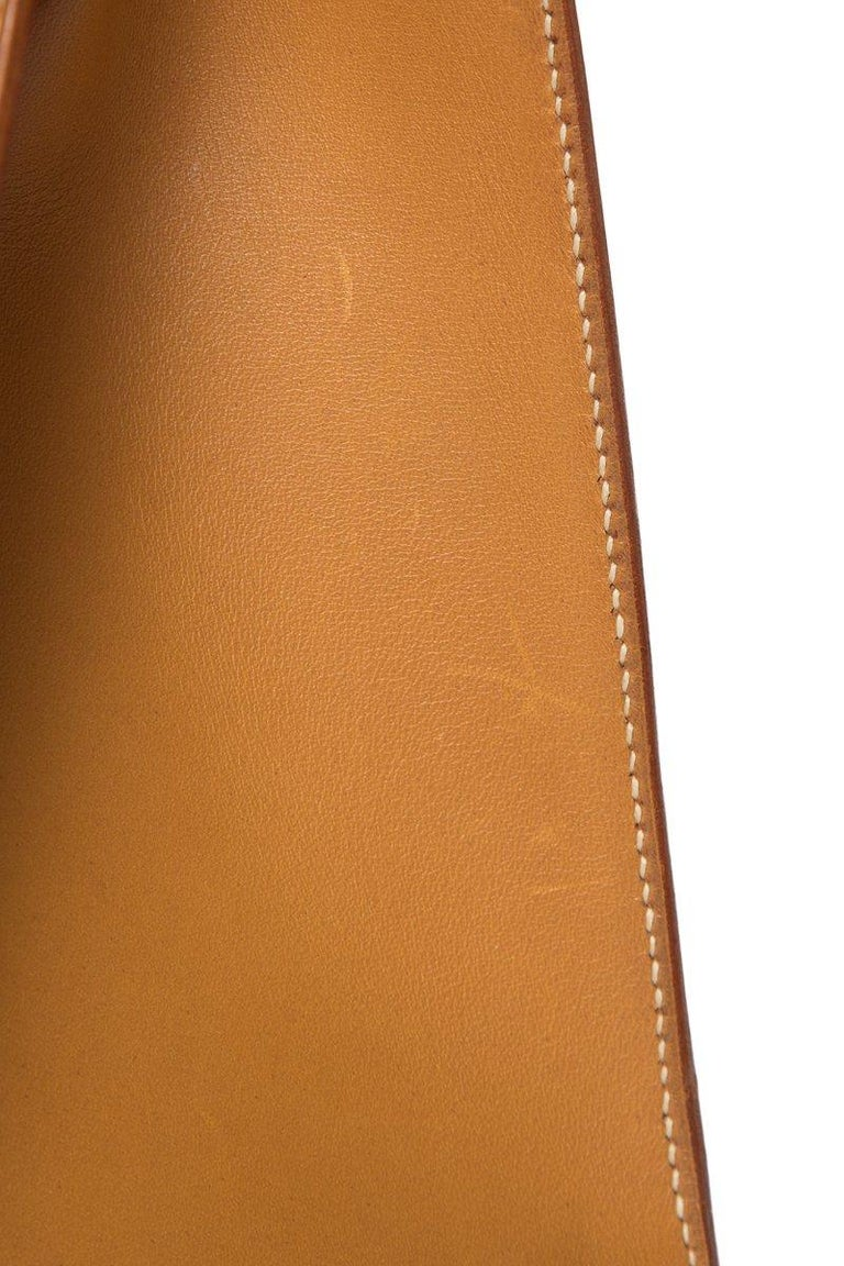 Hermes Tan Leather and Painted Denim Kelly 35cm For Sale 3