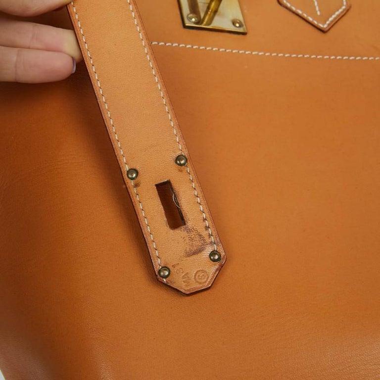 Hermes Tan Leather HAC 50 Gold Birkin Bag  For Sale 6