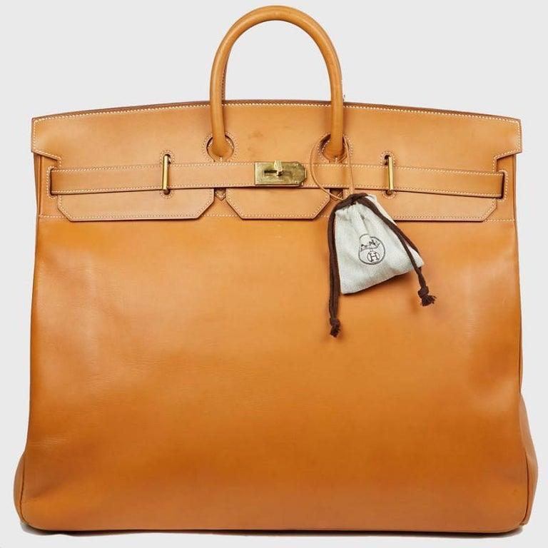 Hermes Tan Leather HAC 50 Gold Birkin Bag  For Sale 7