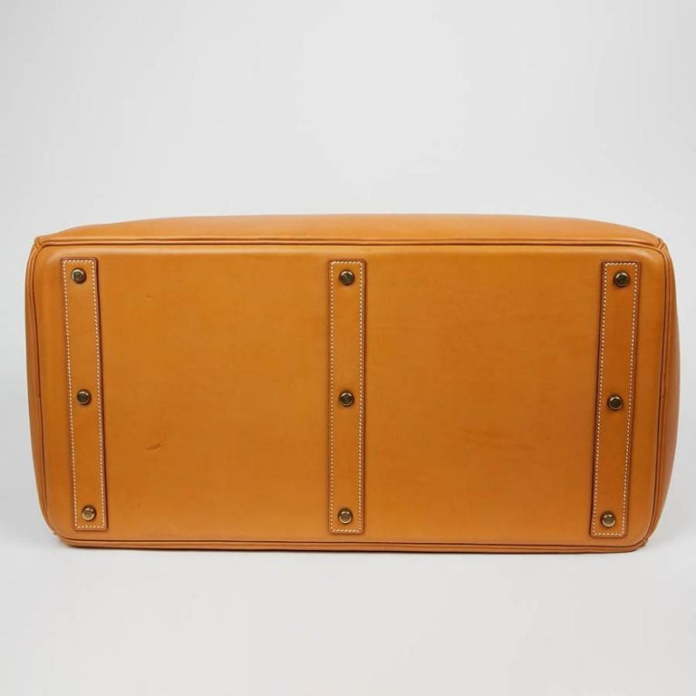 Hermes Tan Leather HAC 50 Gold Birkin Bag  In Good Condition For Sale In Paris, FR