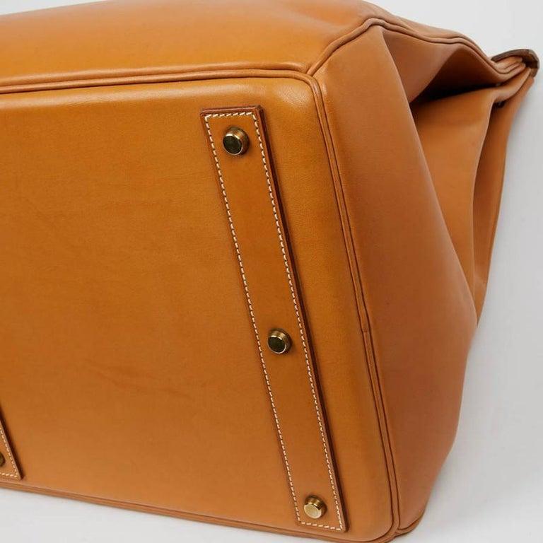 Women's or Men's Hermes Tan Leather HAC 50 Gold Birkin Bag  For Sale