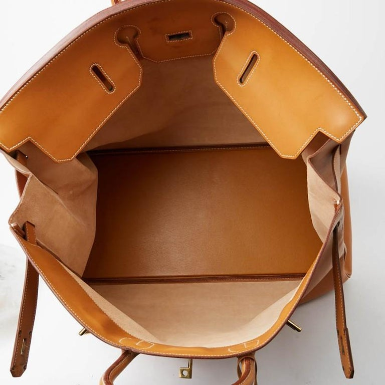 Hermes Tan Leather HAC 50 Gold Birkin Bag  For Sale 3