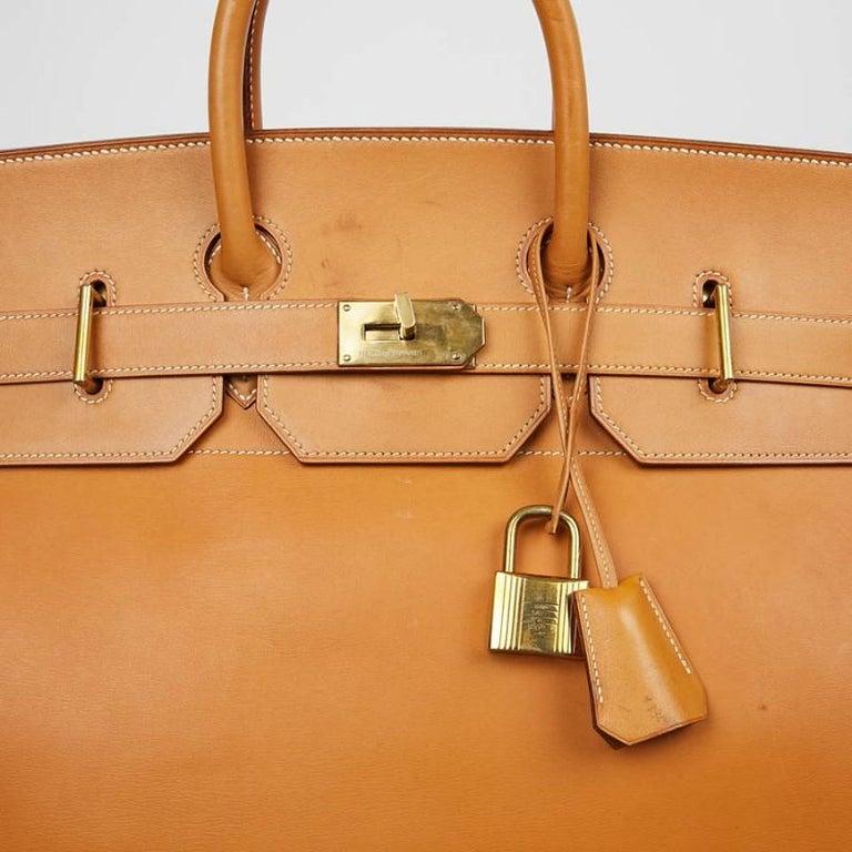 Hermes Tan Leather HAC 50 Gold Birkin Bag  For Sale 4