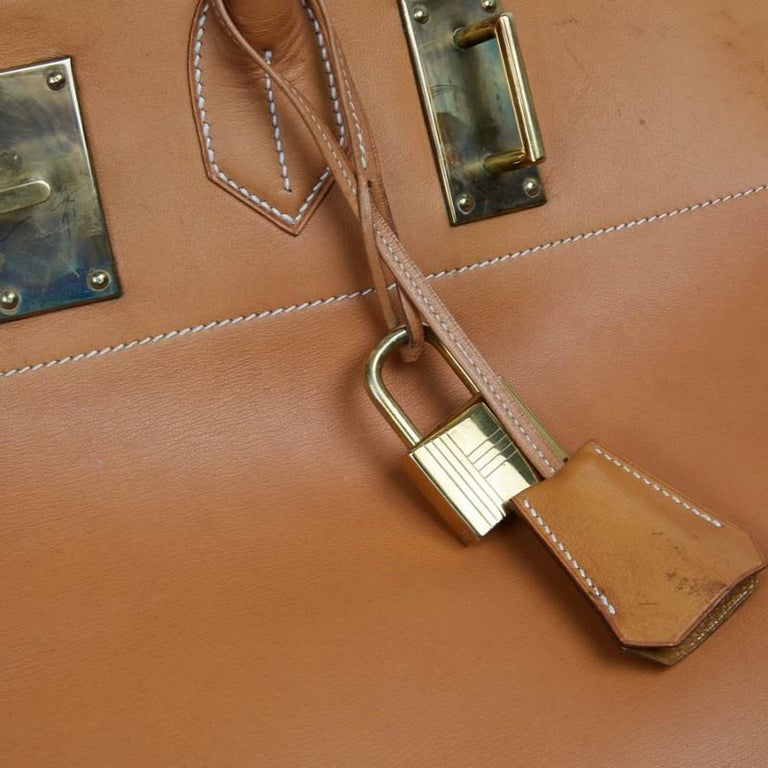 Hermes Tan Leather HAC 50 Gold Birkin Bag  For Sale 5
