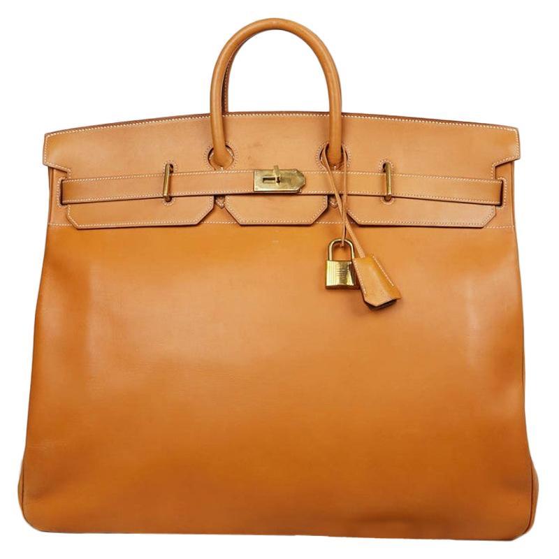 Hermes Tan Leather HAC 50 Gold Birkin Bag