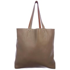 Hermes Tan Leather Large Shopper Carryall Travel Top Handle Shoulder Tote