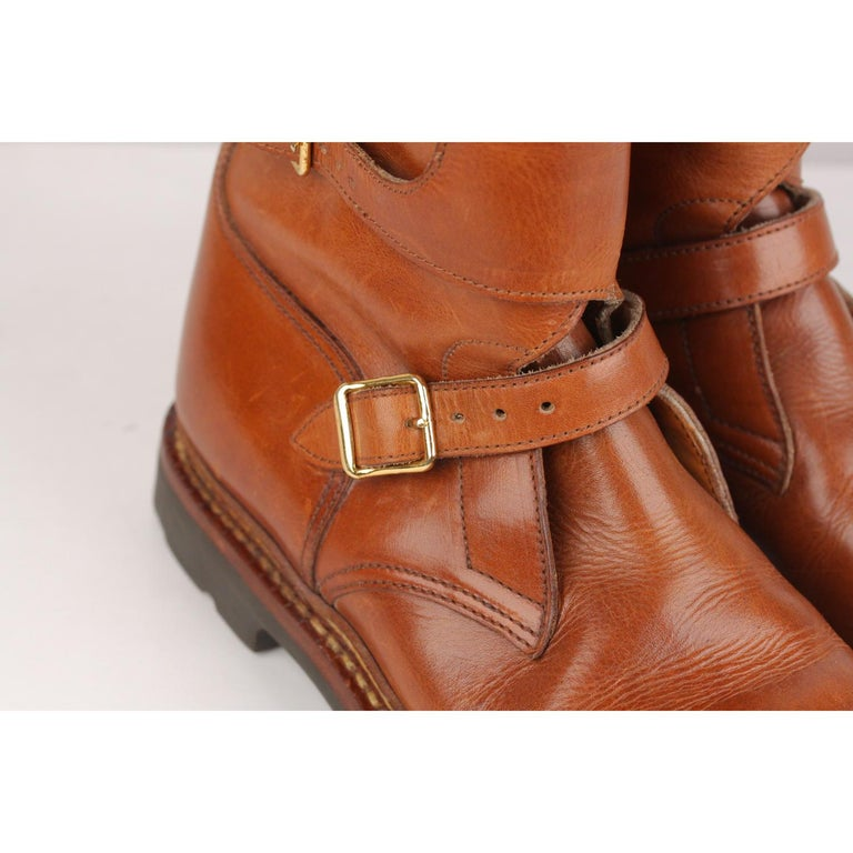 435e33a4938 Brown Hermes Tan Leather Men Buckle Mid Calf Boots Size 41 For Sale