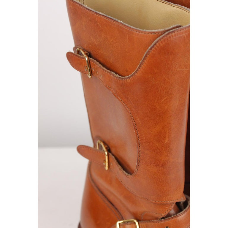 9356b886f72 Hermes Tan Leather Men Buckle Mid Calf Boots Size 41 In Good Condition For  Sale In