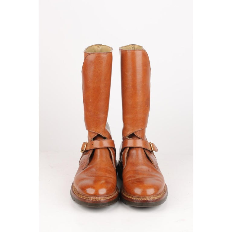 7f49b35e0e9 Hermes Tan Leather Men Buckle Mid Calf Boots Size 41 at 1stdibs