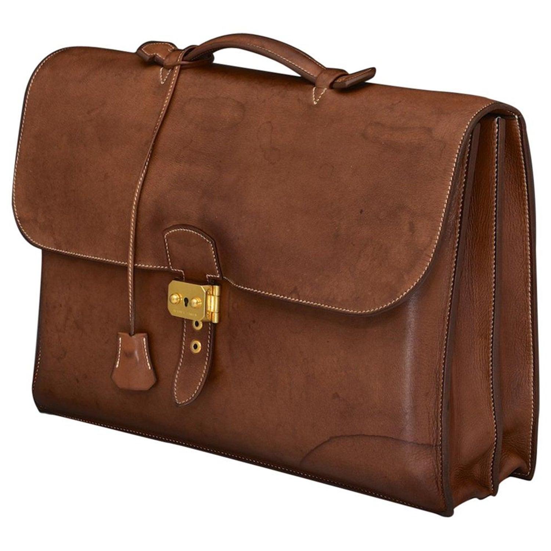 9b80946b3795 Hermès Tan Leather Sac à Dépêches Briefcase at 1stdibs