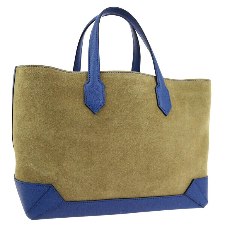 Hermes Tan Suede Blue Leather Carryall Top Handle Satchel Travel Tote Bag For Sale