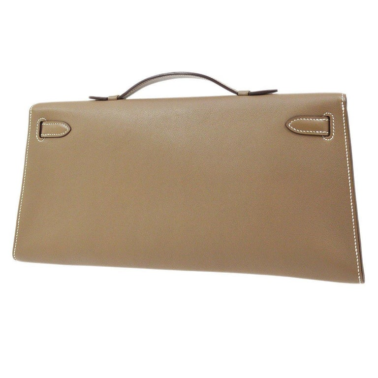 Hermes Tan Taupe Leather Palladium Kelly Evening Top Handle Clutch Bag In Excellent Condition For Sale In Chicago, IL