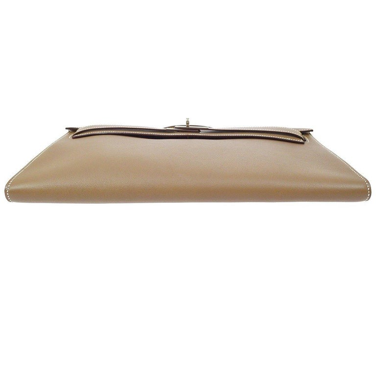 Women's Hermes Tan Taupe Leather Palladium Kelly Evening Top Handle Clutch Bag For Sale