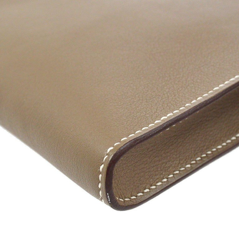 Hermes Tan Taupe Leather Palladium Kelly Evening Top Handle Clutch Bag For Sale 1