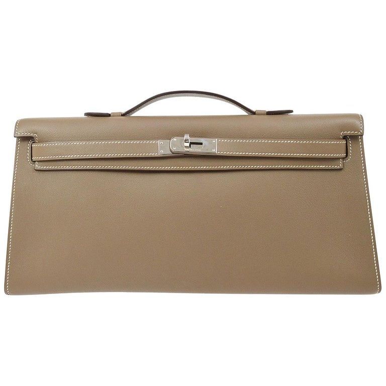 Hermes Tan Taupe Leather Palladium Kelly Evening Top Handle Clutch Bag For Sale