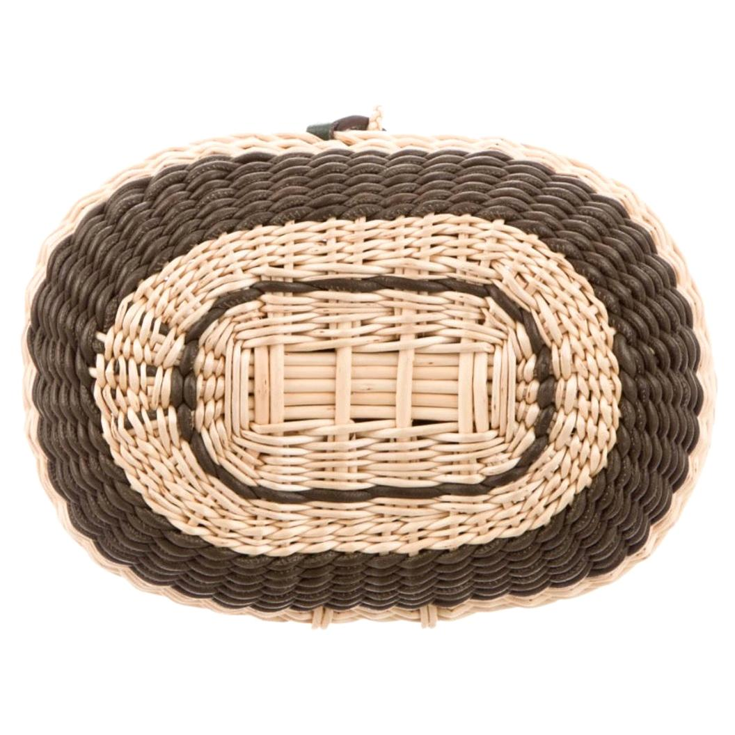 Hermes Tan Wicker Rattan Basket Olive Green Leather Evening Clutch Wristlet Bag
