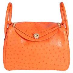 Hermès Tangerine Ostrich Lindy 30 GHW