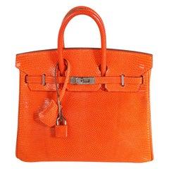 Hermès Tangerine Shiny Lizard Birkin 25 PHW