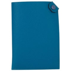 Hermes Tarmac Passport Holder Blue Izmir Epsom Blue Brighton Snap New w/ Box