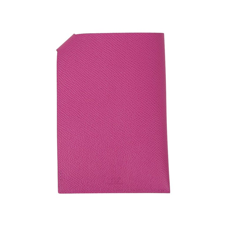 Women's or Men's Hermes Tarmac Passport Holder Magnolia Hot Pink New w/Box For Sale