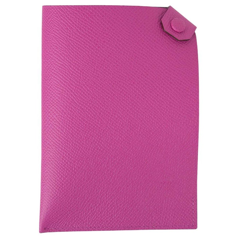 Hermes Tarmac Passport Holder Magnolia Hot Pink New w/Box For Sale