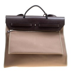 Hermes Taupe Canvas and Leather Herbag Zip 39 Bag