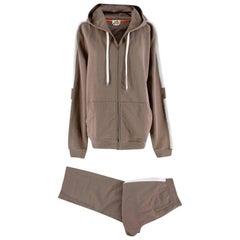 Hermes Taupe Cotton White Stripe Details Sweatpants & Hoodie - Size M/L