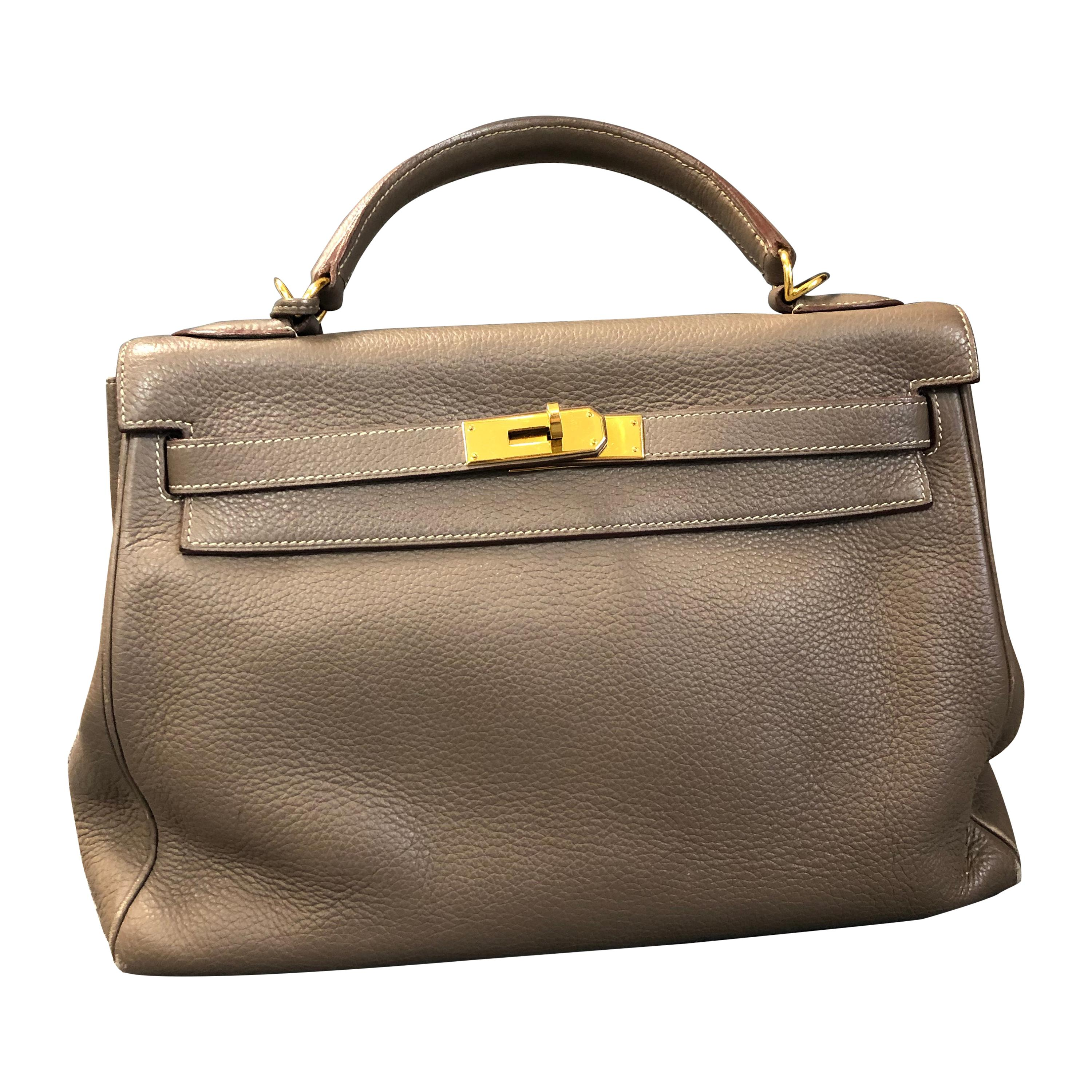 Hermès Taupe Epsom Leather Kelly Sellier 32 Bag Excellent Condition, 2005