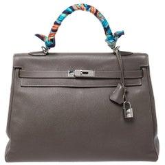 Hermes Taupe Epsom Leather Palladium Hardware Kelly Retourne 35 Bag