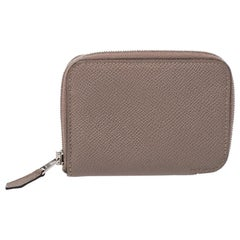 Hermes Taupe Epsom Leather Zip Around Compact Wallet