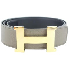 Hermès Taupe Gold 42mm Reversible H Logo Kit 11hz1126 Belt