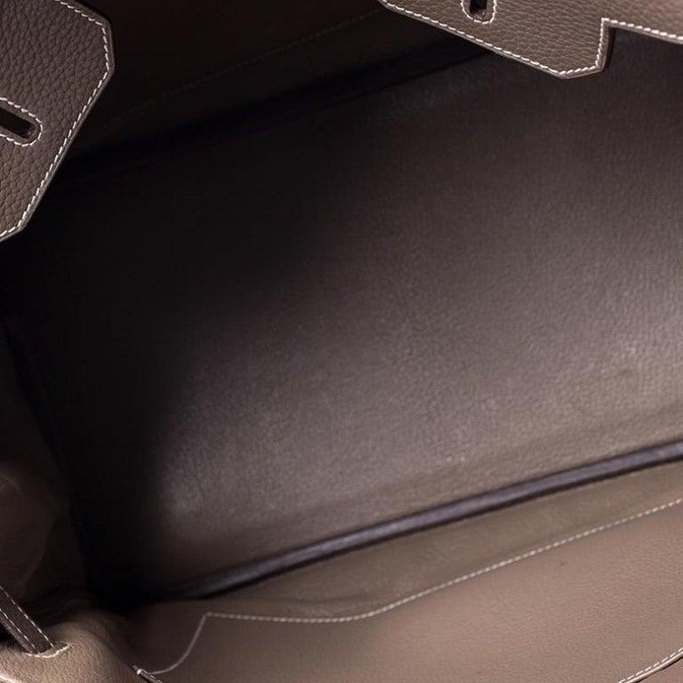 Hermes Taupe Grey Clemence Leather Palladium Hardware Birkin 35 Bag For Sale 6