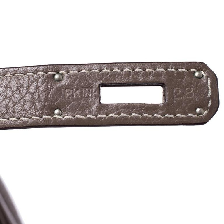 Hermes Taupe Grey Clemence Leather Palladium Hardware Birkin 35 Bag For Sale 7