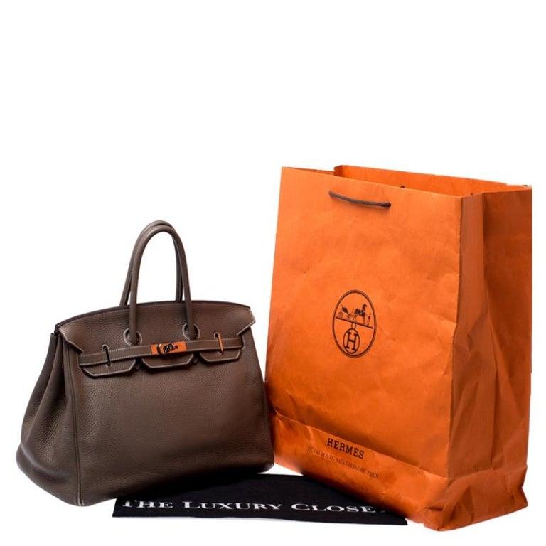 Hermes Taupe Grey Clemence Leather Palladium Hardware Birkin 35 Bag For Sale 10