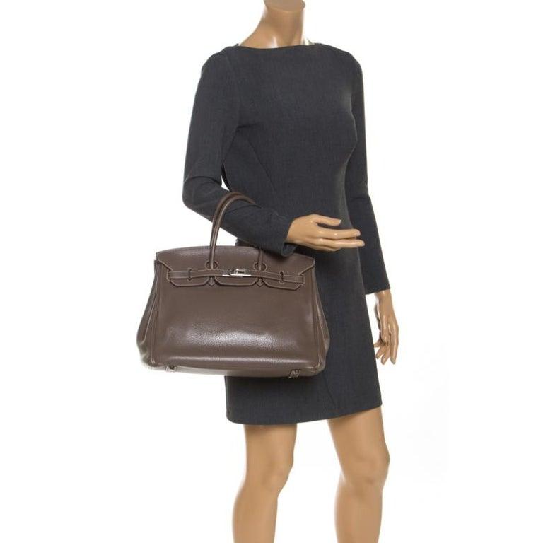 Hermes Taupe Grey Clemence Leather Palladium Hardware Birkin 35 Bag In Good Condition For Sale In Dubai, Al Qouz 2