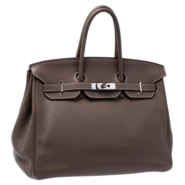 Women's Hermes Taupe Grey Clemence Leather Palladium Hardware Birkin 35 Bag For Sale