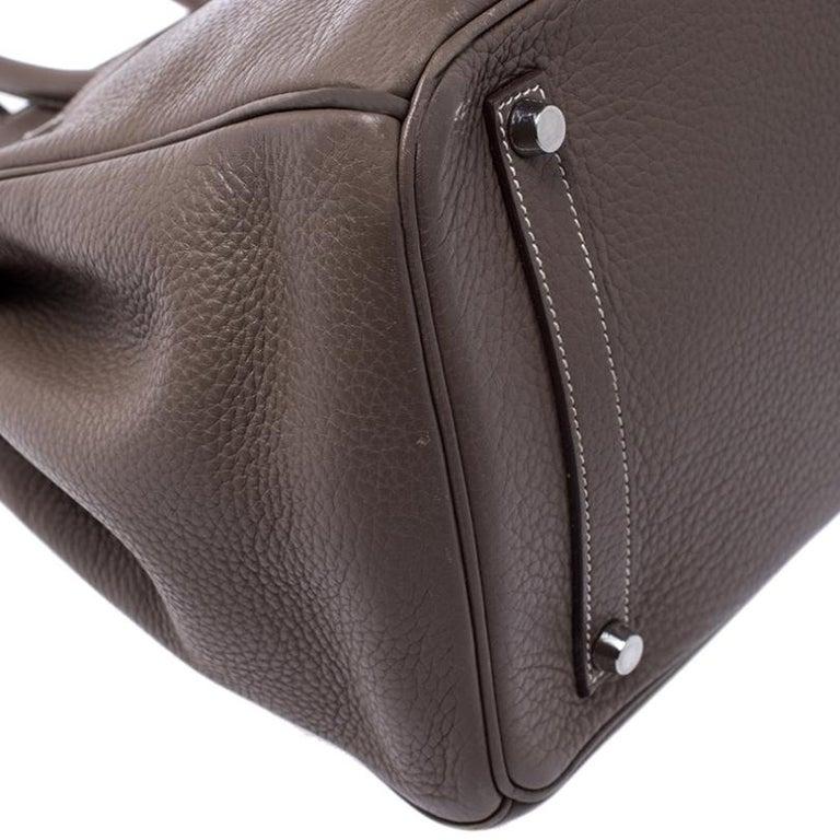 Hermes Taupe Grey Clemence Leather Palladium Hardware Birkin 35 Bag For Sale 3