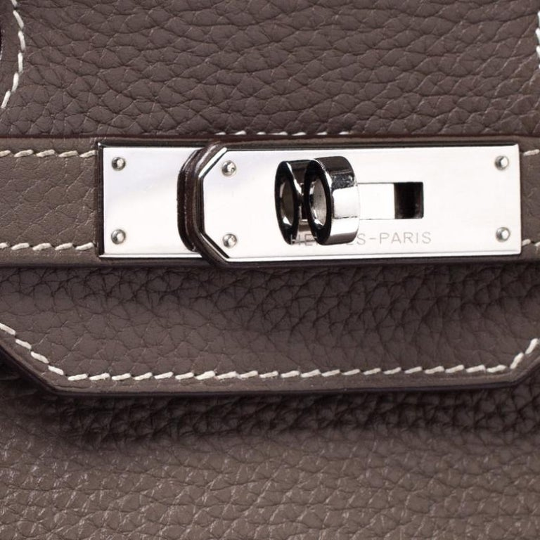 Hermes Taupe Grey Clemence Leather Palladium Hardware Birkin 35 Bag For Sale 4