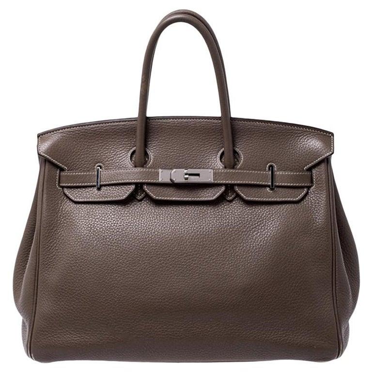 Hermes Taupe Grey Clemence Leather Palladium Hardware Birkin 35 Bag For Sale