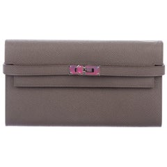 Hermes Taupe Leather Palladium Envelope Evening Clutch Wallet in Box